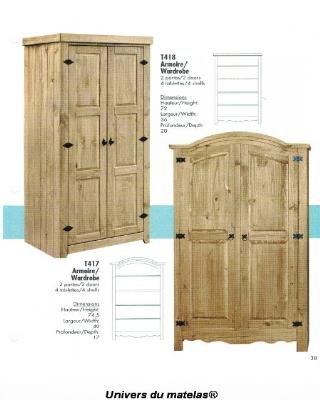 armoire tuff t 417 mobilier en pin naturel rustique univers du matelas. Black Bedroom Furniture Sets. Home Design Ideas